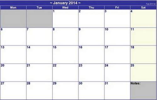 15 FREE Printable 2014 Calendar Templates - XDesigns