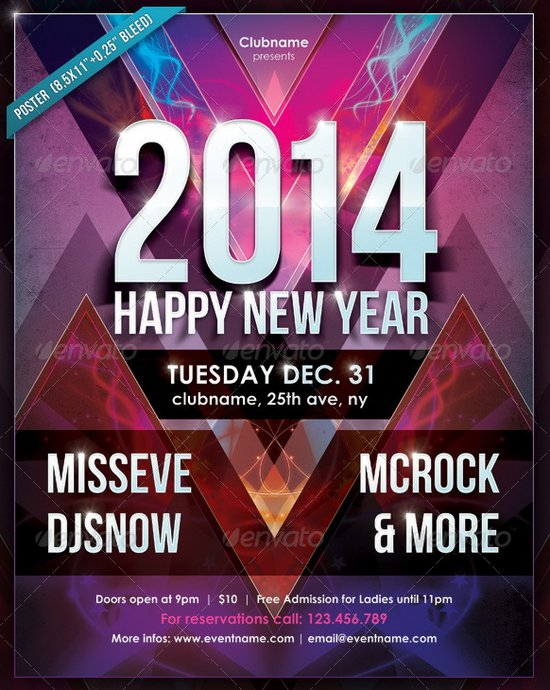 20 Stunning Happy New Year Flyer Print Templates (2014 Edition - new year poster template