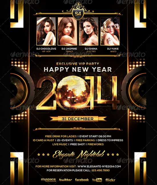 20 Stunning Happy New Year Flyer Print Templates (2014 Edition - free new years eve flyer template