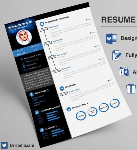 12 Professional Resume Templates in Word Format - XDesigns - free template for resume in word