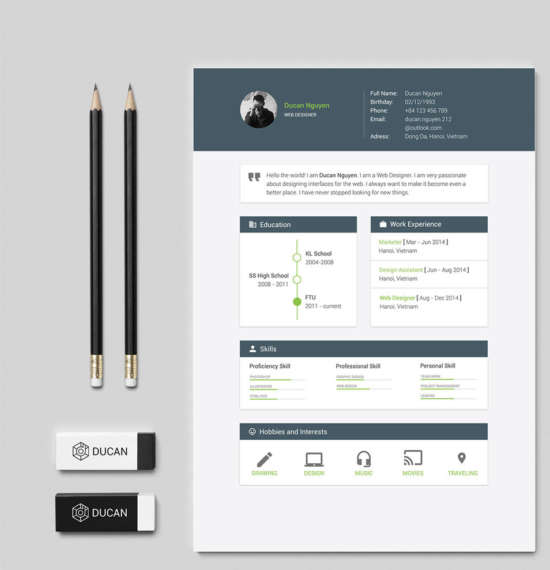 5 Free Resume With Material Design Layout - XDesigns