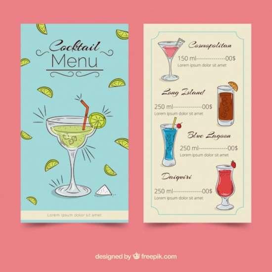 25+ Printable Drink Menu Templates - XDesigns - drinks menu template