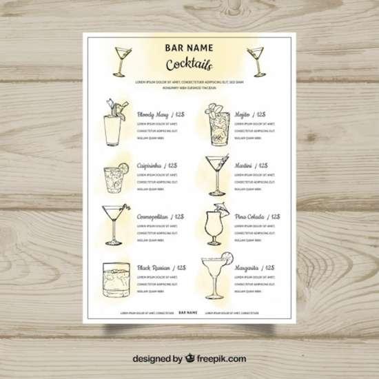 25+ Printable Drink Menu Templates - XDesigns