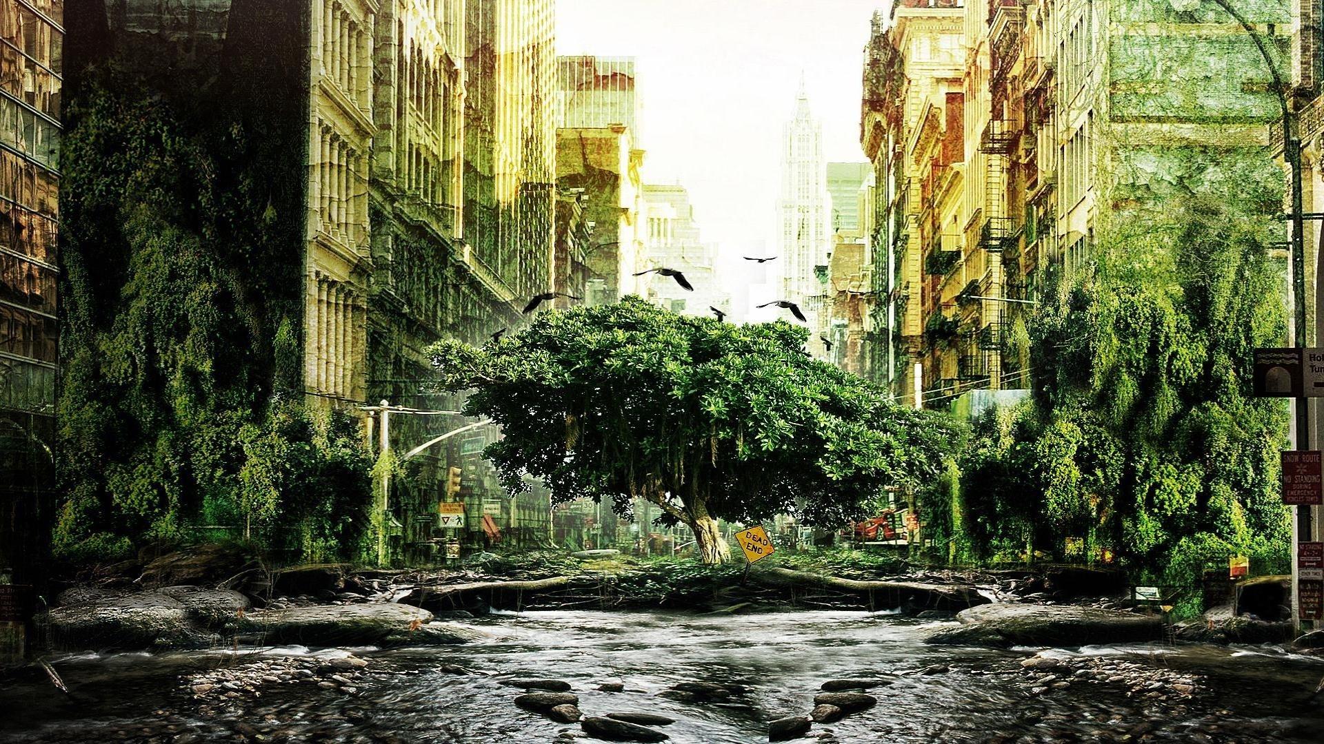 3d Wallpaper Cowboys Xfrog Landscapes Manhattan Overgrown I Am Legend