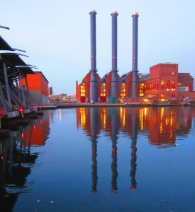 Fox Point Hurricane Barrier and Manchester Street Power Station, Providence, RI, Nov. 30, 2012
