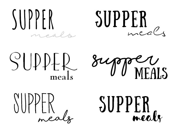 Supper logo drafts - font choices