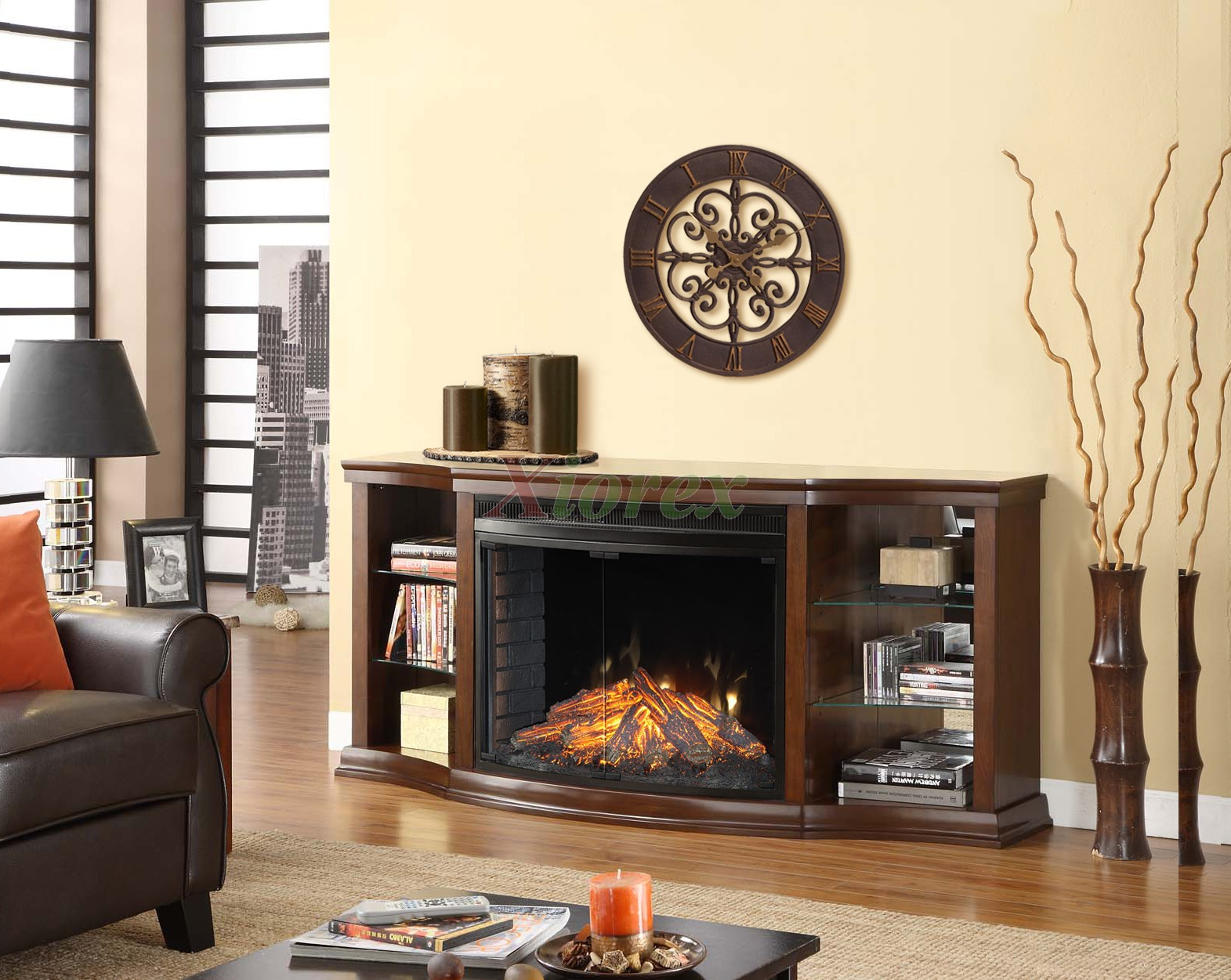 Curved Electric Fireplace Contessa Curio Cabinet Fireplace Mantel W Curved Firebox Xiorex