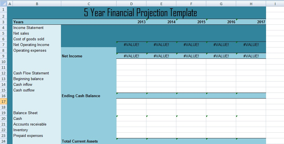 Get 5 Year Financial Projections Template XLS - Free Excel
