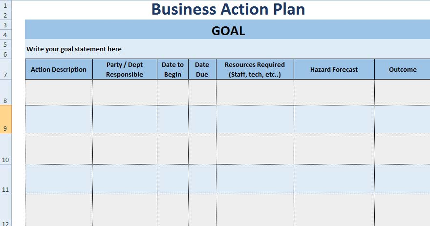 3+ Free Project Action Plan Template XLS - Free Excel Spreadsheets