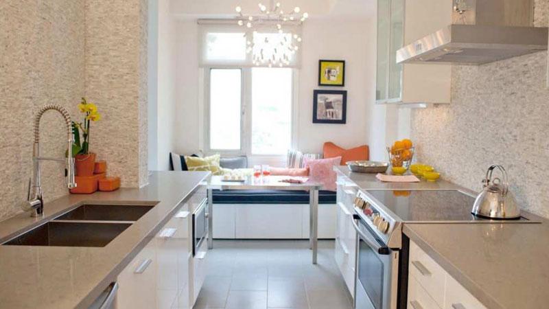 пространство узкой кухни