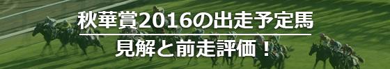 秋華賞2016の出走予定馬,見解と前走評価