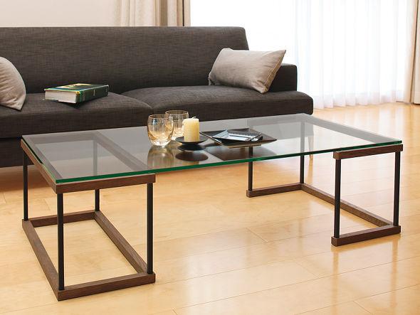 ブラウン×ガラスの落ち着きのガラステーブルGLASS LIVING TABLE W120