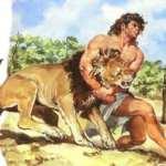 Sansón, el león, Dalila, los filisteos y las columnas