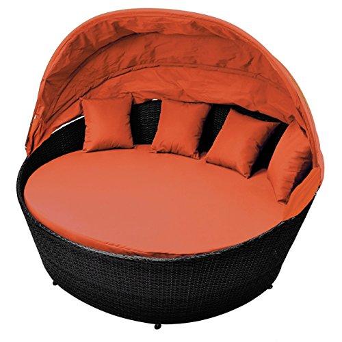 Sonneninsel Orange Rattan Bett Mit Aufklappbarem Sonnendach Inkl. Auflagen  Und Kissen Sonnenliege Gartenbett Rattan Lounge Zum Relaxen Mit  Aluminiumgestänge ...