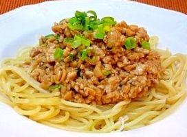 スタミナ納豆スパゲティ