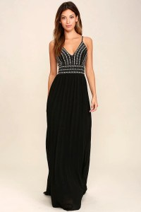 Lovely Black Maxi Dress - Embroidered Maxi Dress - Beaded ...