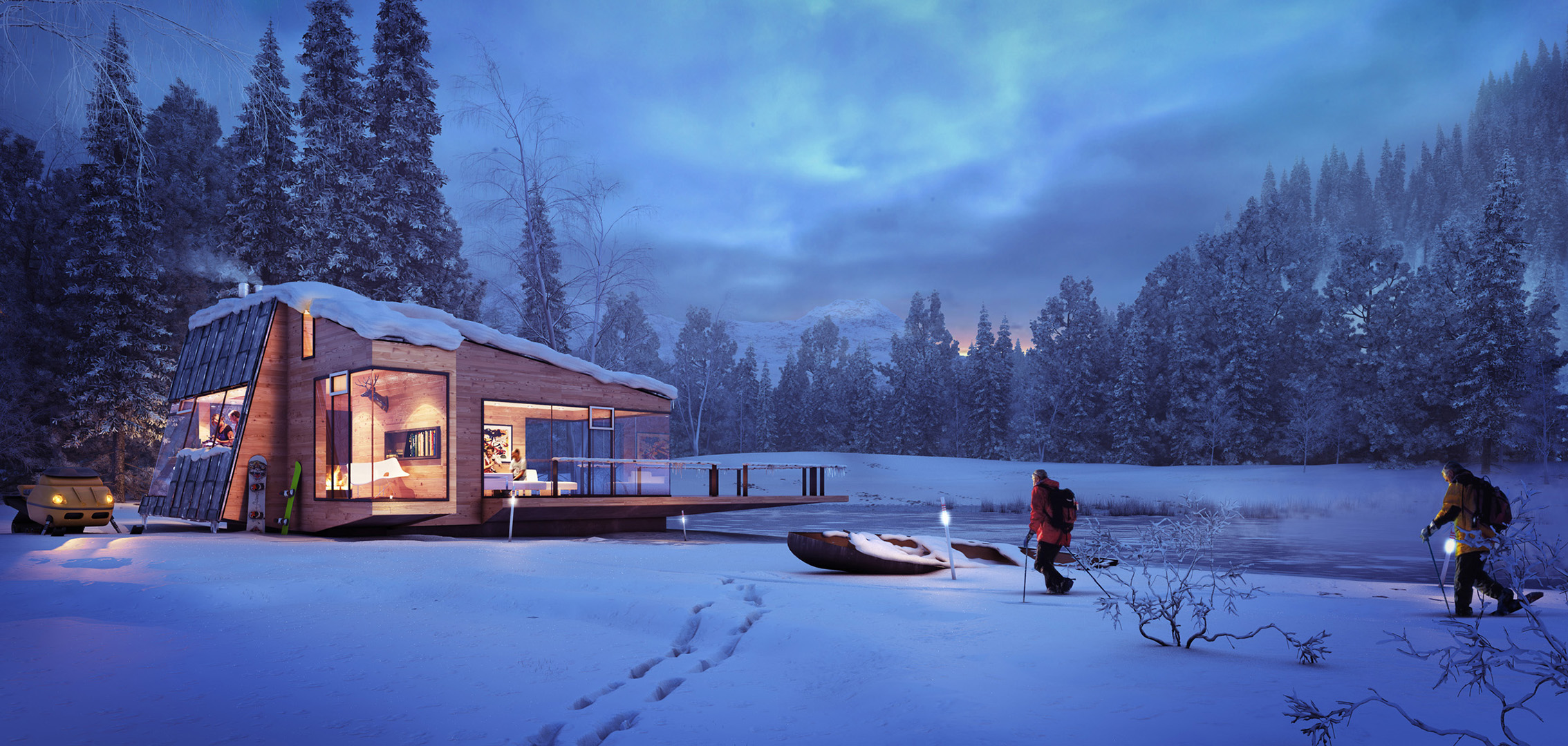 Architektur Rendering Welches Programm Ferienhaus Am See Winterstimmung Xoio