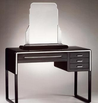 American modern streamlined dressing table and mirror