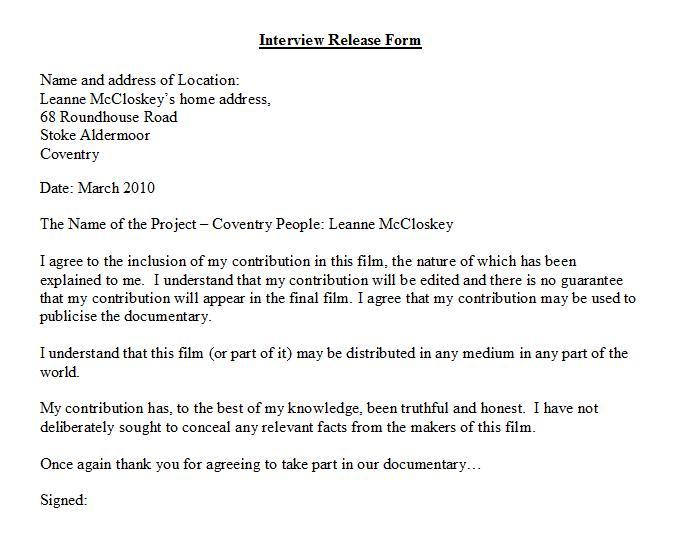 Leanne McCloskey Interview Release Form Sarah\u0027s Blog - key release form