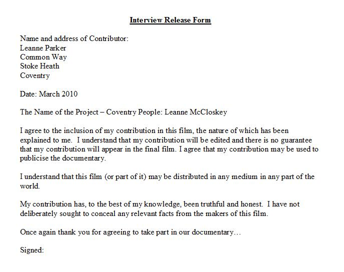 Interview Release Form Interviewelease Form Luxury Of Fresh