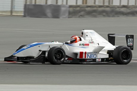 Haytham with the NBQ logo prominently on the FG1000 car
