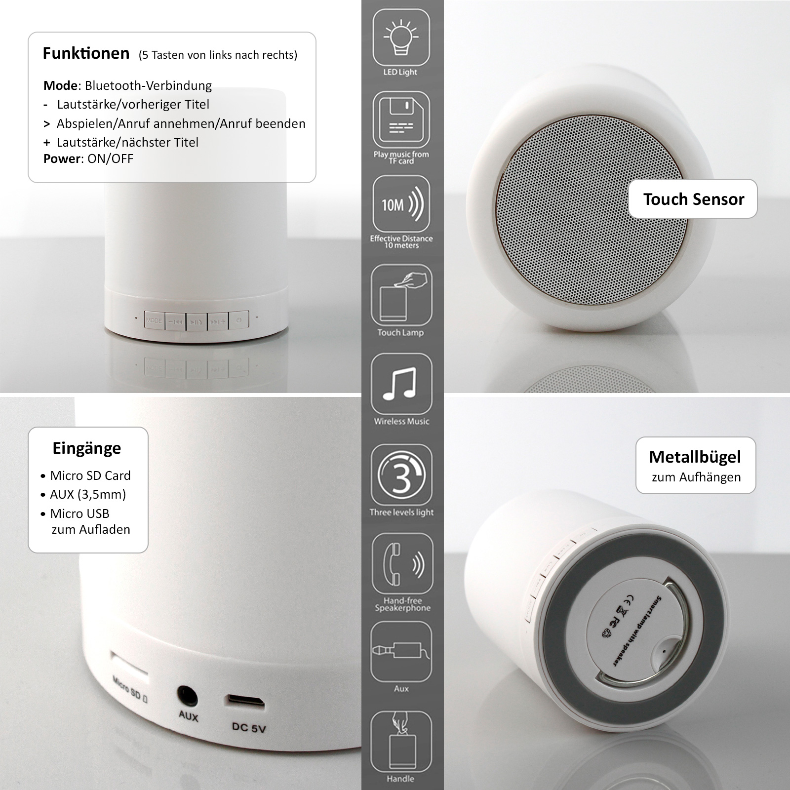 Nachttischleuchte Touch Dimmer Wireless Bluetooth Lautsprecher Tragbare Led Touch Lampe