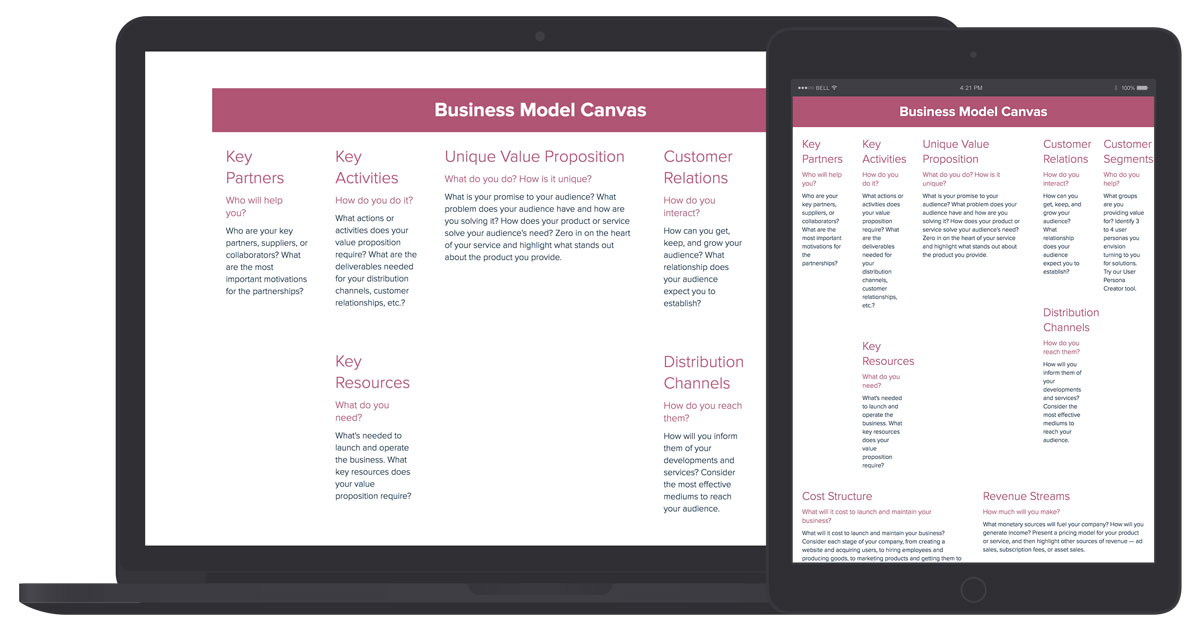 Business Model Canvas Template and Examples Xtensio