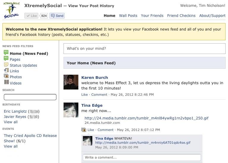 XtremelySocial App - Main Screen