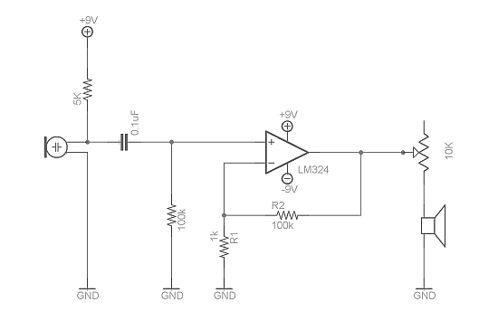 operational amplifier lm324 and super microphone circuit xtronic
