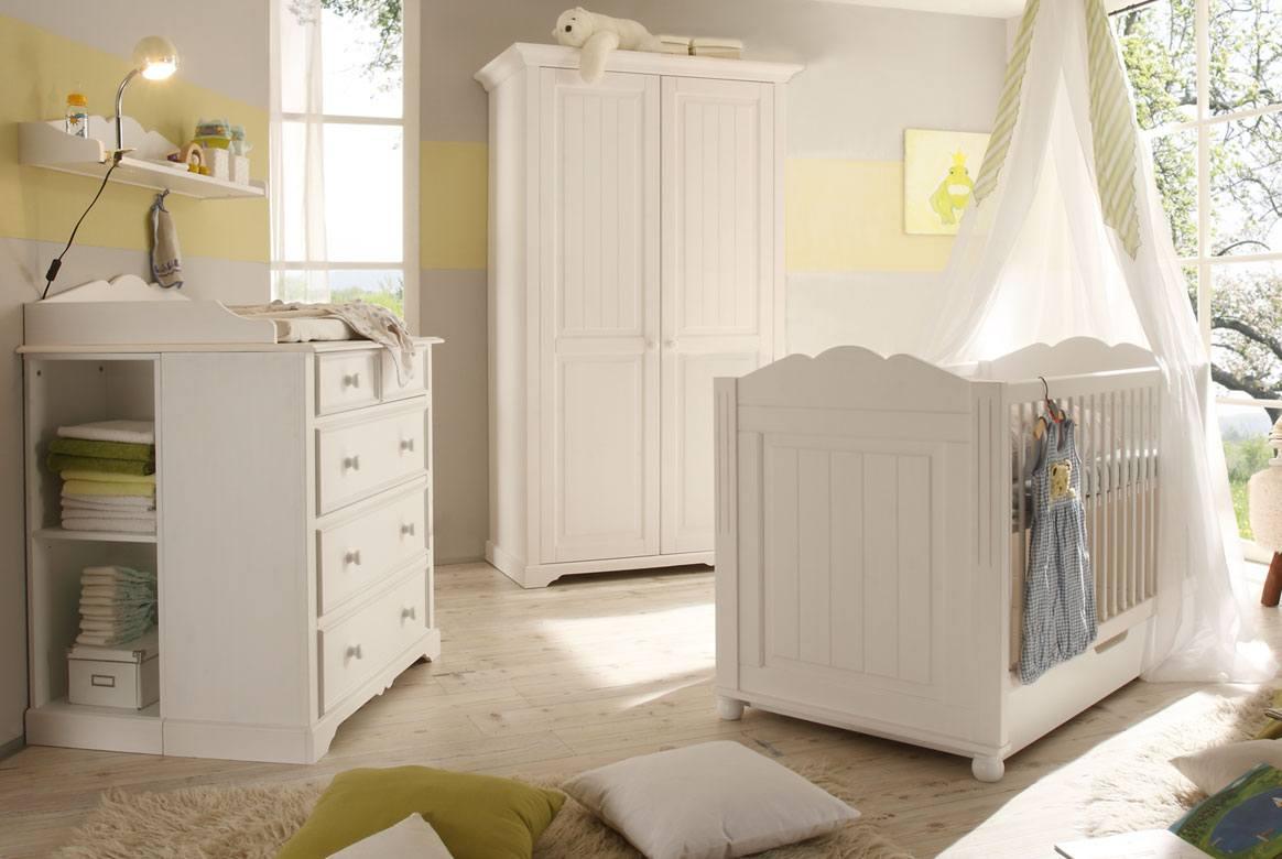 Babymobel Massivholz Babyzimmer Komplett Set Landi Weiss Pinie 6