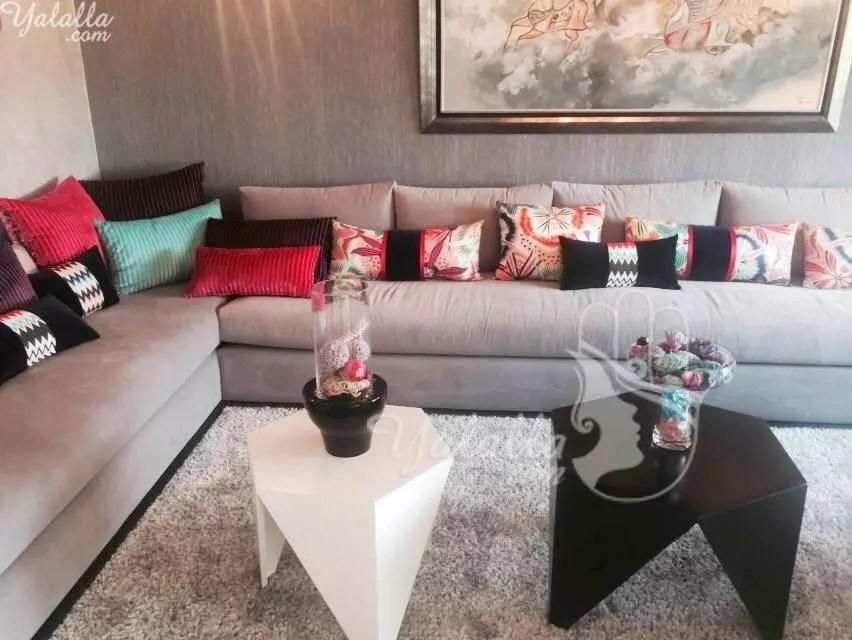 Salon Marocain Kabila haut avec tissu Broderie Liane Salones - creer sa maison en ligne