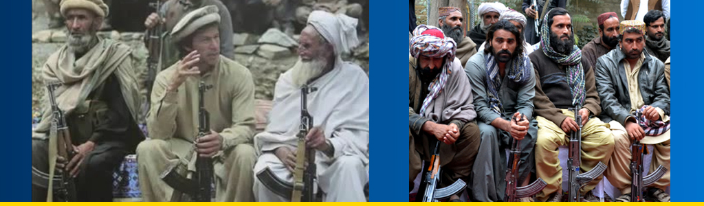 Sewing a crazy tribal quilt: Pakistan's Prime Minister Imran Khan with fellow Pashtun fighters at another time, and Baloch rebels surrender weapons to the Pakistani government