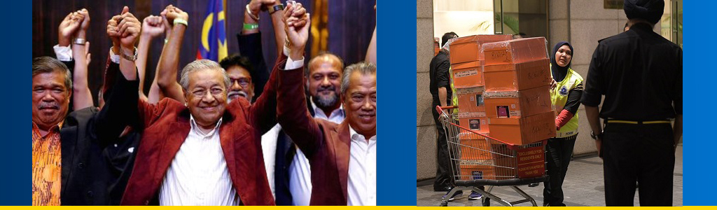 Mahathir Mohamad and supporters celebrate election win; authorities carry away items from former prime minister's home
