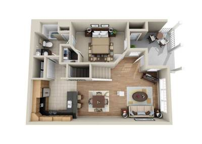 3 Bedroom 2-Story Middle Unit 1st-Floor