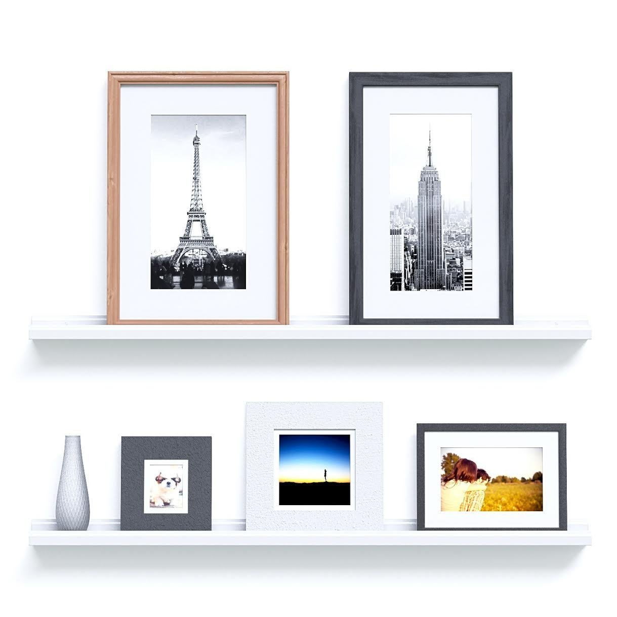 White Wall Book Rack Picture Ledge 46 Quot Wall Floating Shelf White Ribba Book