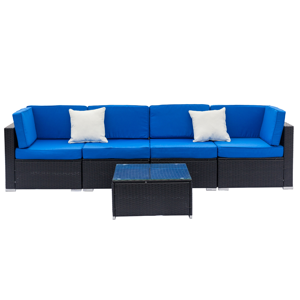 Rattan Twin Sofa Details About 5pc Rattan Wicker Sofa Set Sectional Couch Cushioned Furniture Patio Outdoor