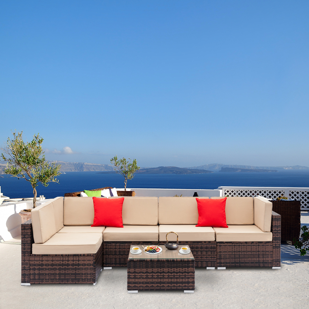 Rattan Sofa Near Me Details About 6pcs Pe Rattan Wicker Sofa Set Cushion Outdoor Patio Sofa Couch Furniture New