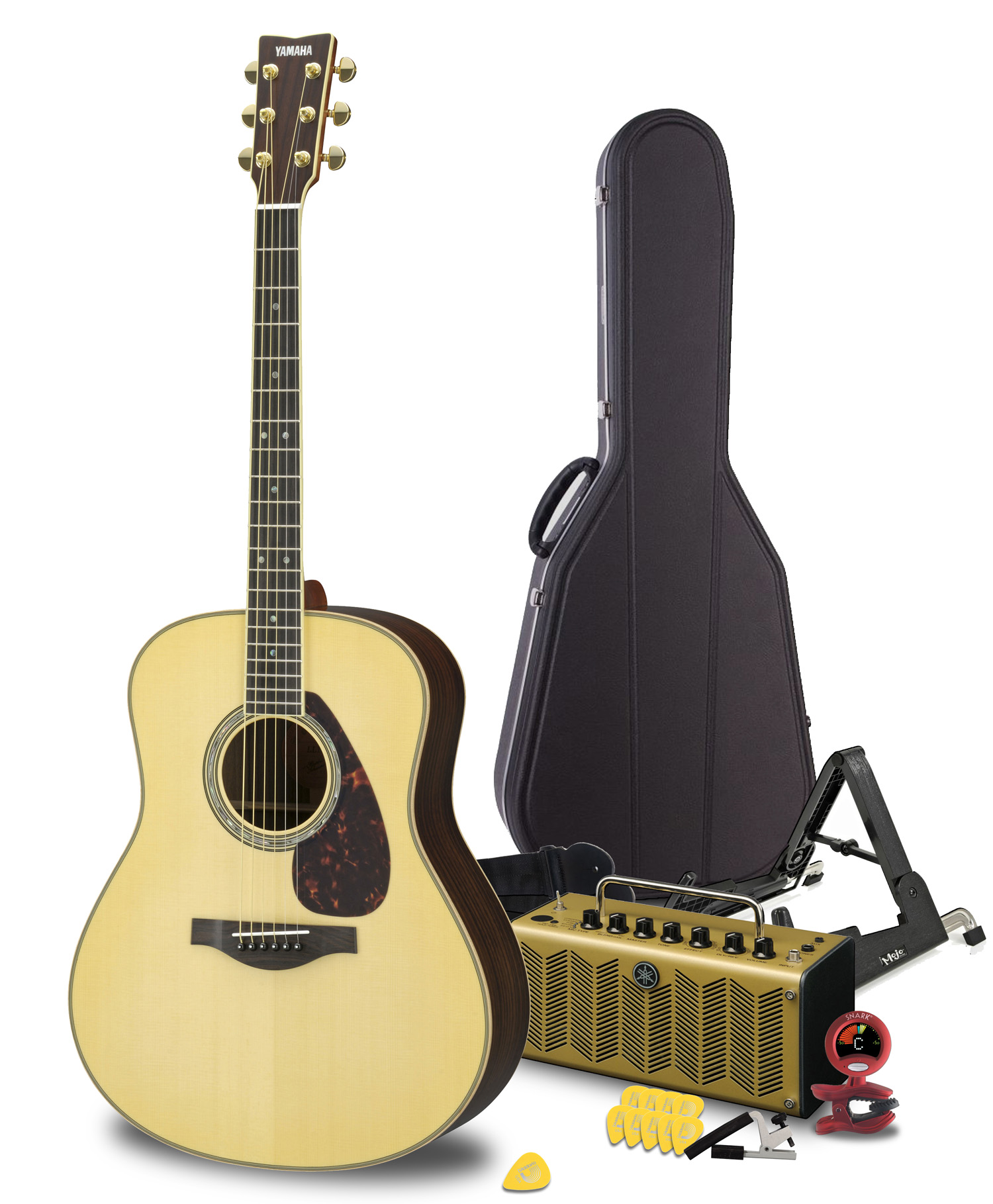 Acoustic Yamaha Maverick Deluxe Acoustic Guitar Package Featuring The Ll16 Are Handcrafted Guitar Thr5a Acoustic Amplifier