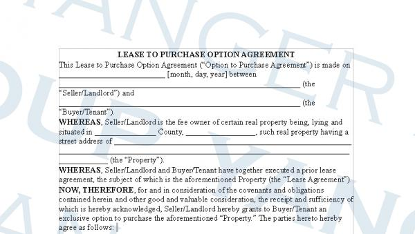 Lease Option Agreement Images - Agreement Letter Format - Lease Purchase Agreement