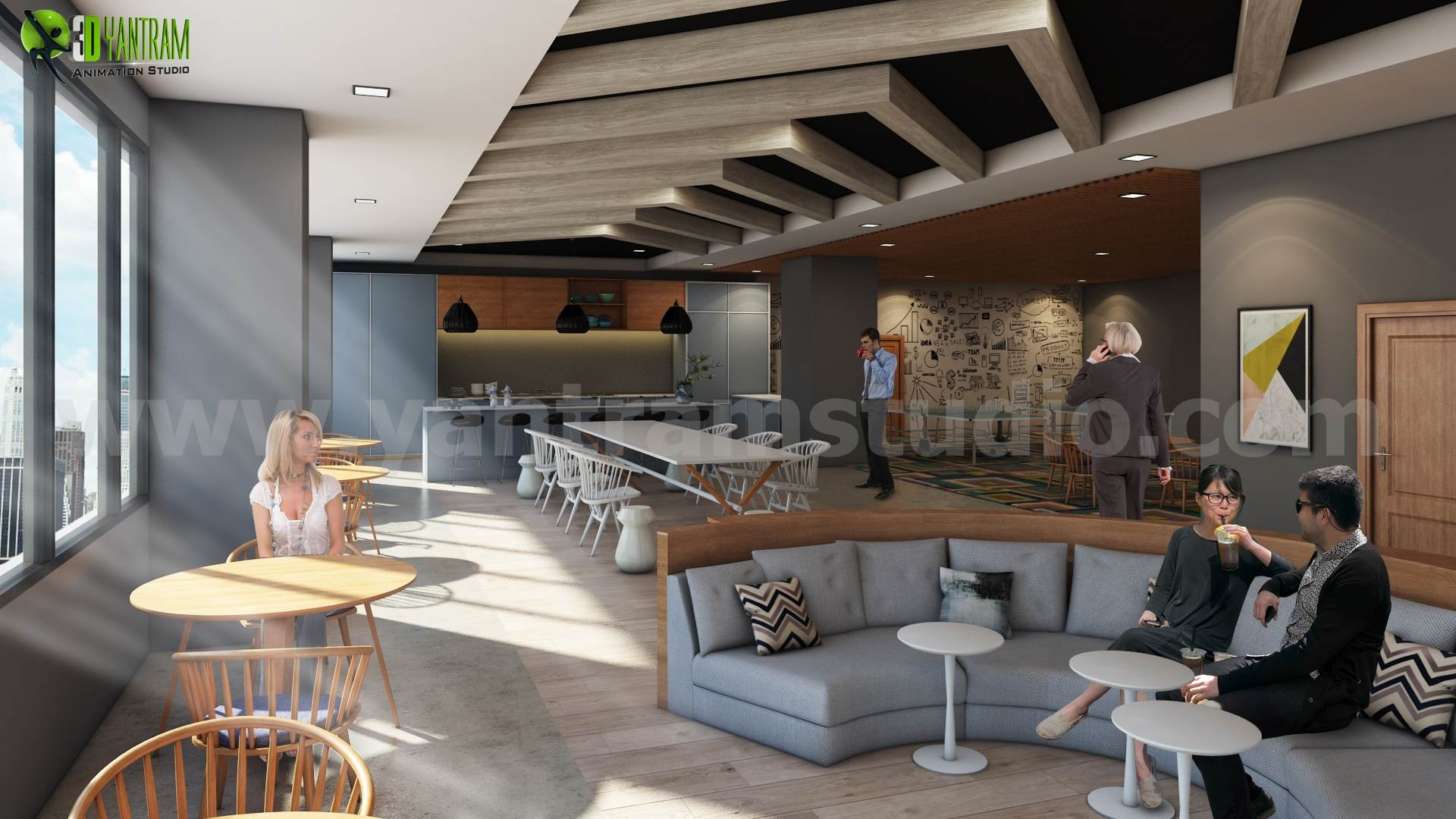 Commercial Kitchen 3d Design Creative Ideas For Office Interior Design By Yantram 3d Interior