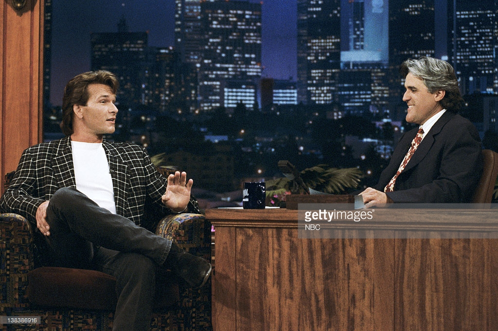 THE TONIGHT SHOW WITH JAY LENO -- Episode 733 -- Pictured: (l-r) Actor Patrick Swayze during an interview with host Jay Leno on July 20, 1995 -- Photo by: Margaret Norton/NBCU Photo Bank