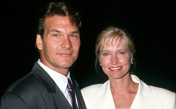 "Actor Patrick Swayze and wife Lisa Niemi attend the opening of ""Love Letters"" on October 17, 1991 at the Cannon Theater in Beverly Hills, California."