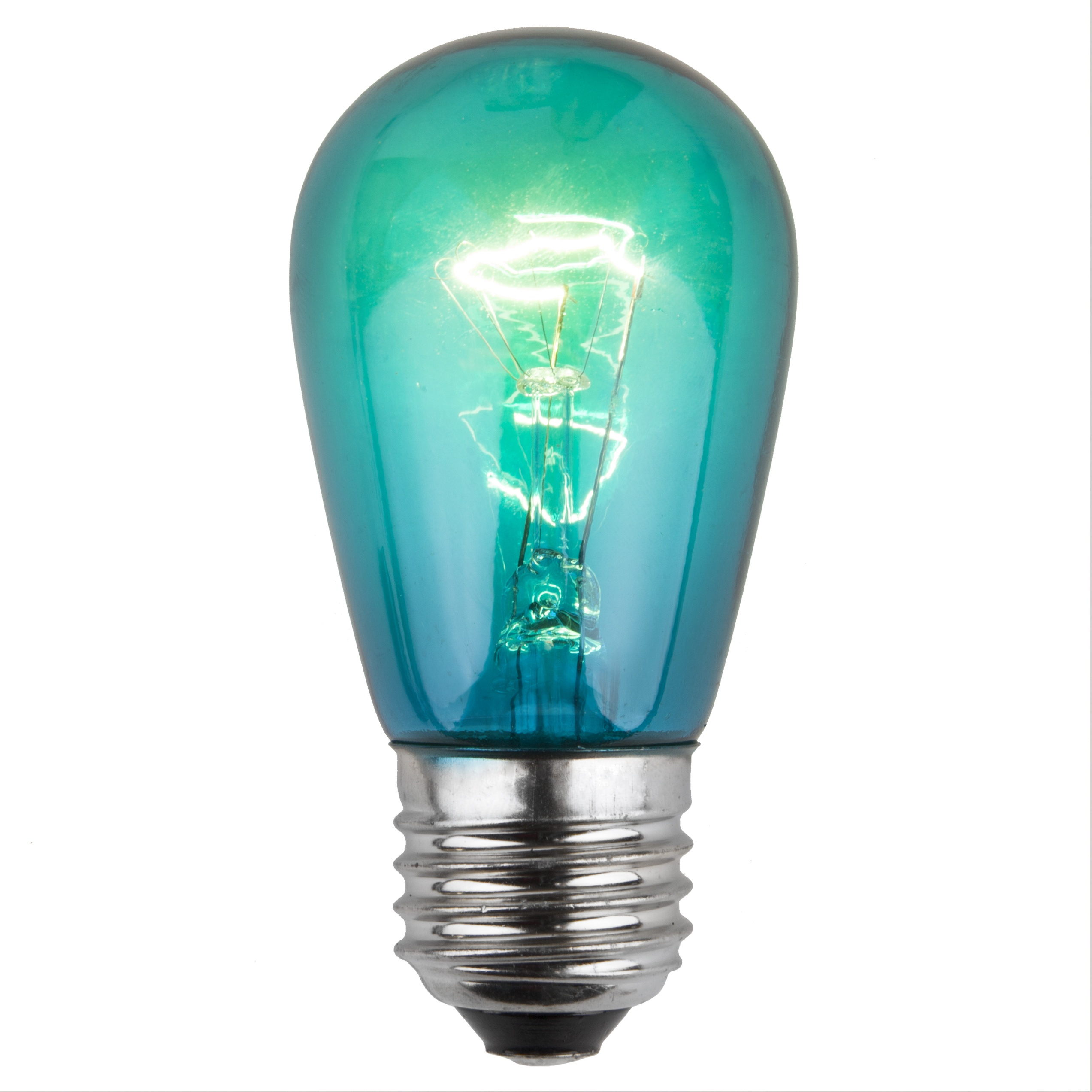 Decorative String Lights S14 Colored Party Bulbs, Teal - Yard Envy
