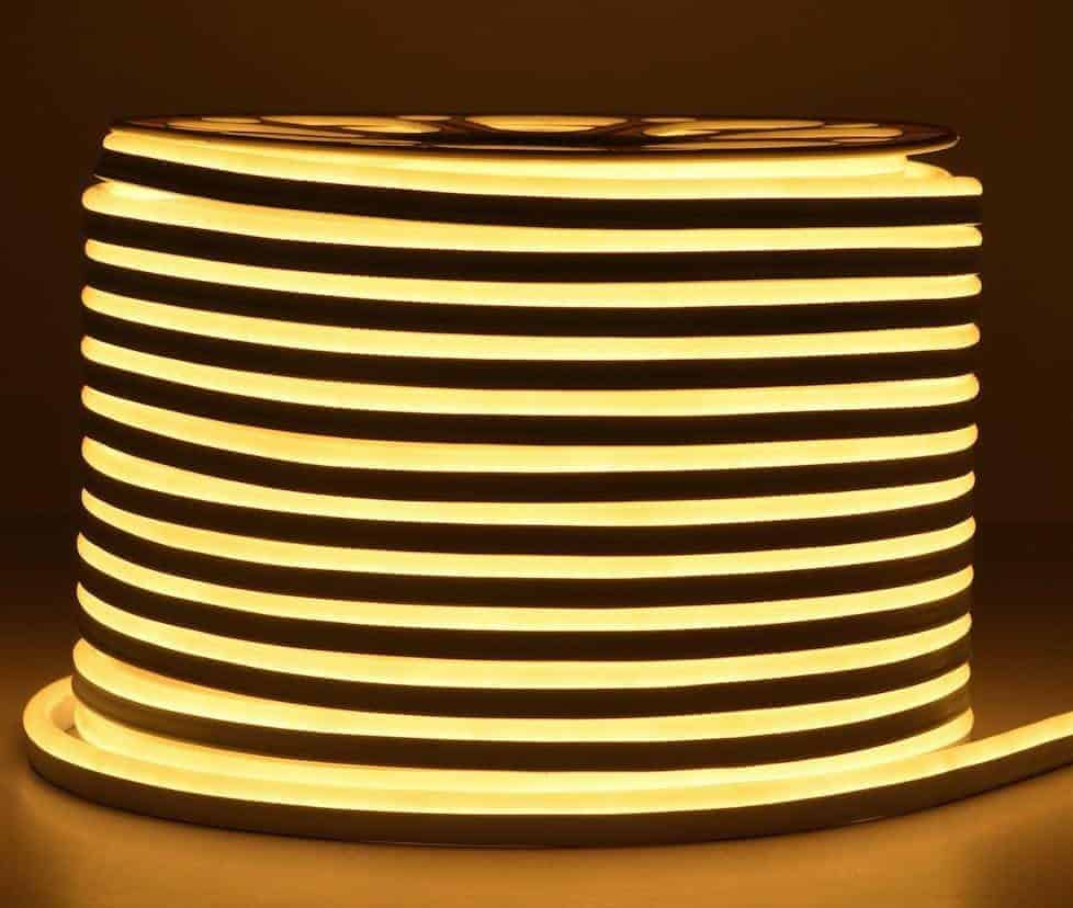 Led Slang Verlichting Warm Wit Led Strip 230v Neon Flex Warm Wit Ip65 Per Meter