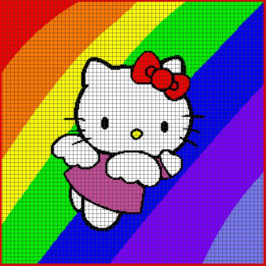 Knitting Games Hello Kitty : Hello kitty rainbow chart graph and row by written