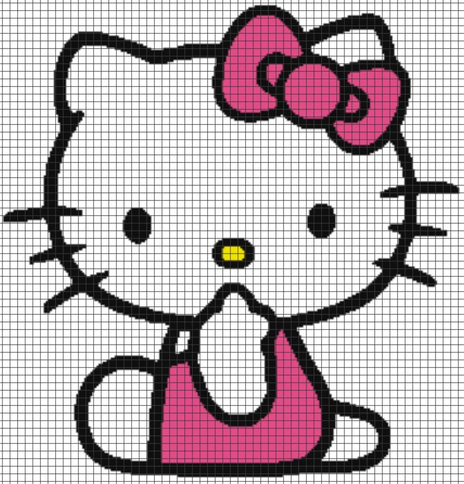 Knitting Games Hello Kitty : Hello kitty chart graph and row by written