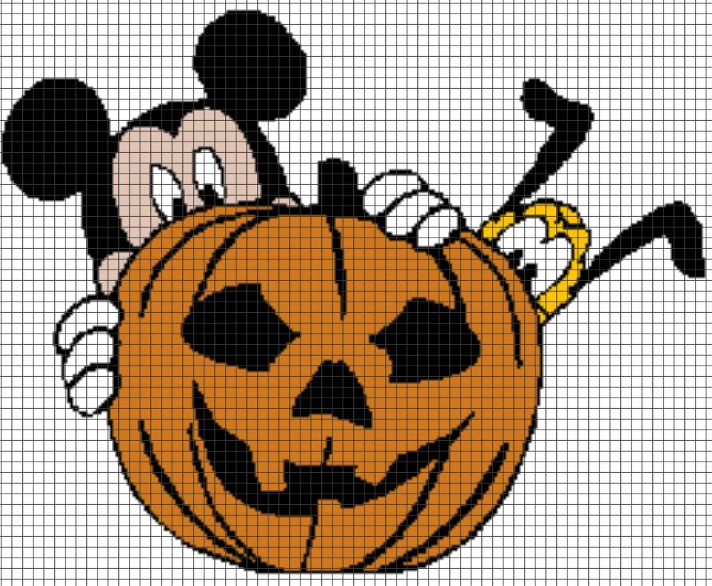 Pluto Mickey Mickey Mouse Pluto Halloween Pumpkin Chart Graph And Row By Row Written Instructions