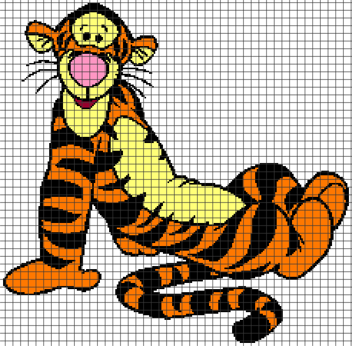 Cartoon Characters Knitting Patterns : Tigger chart graph and row by written crochet