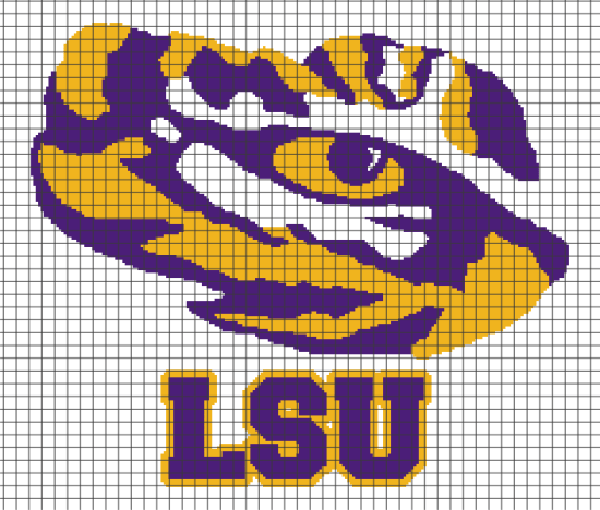 LSU Tiger Eye (Chart/Graph AND Row-by-Row Written Crochet ...
