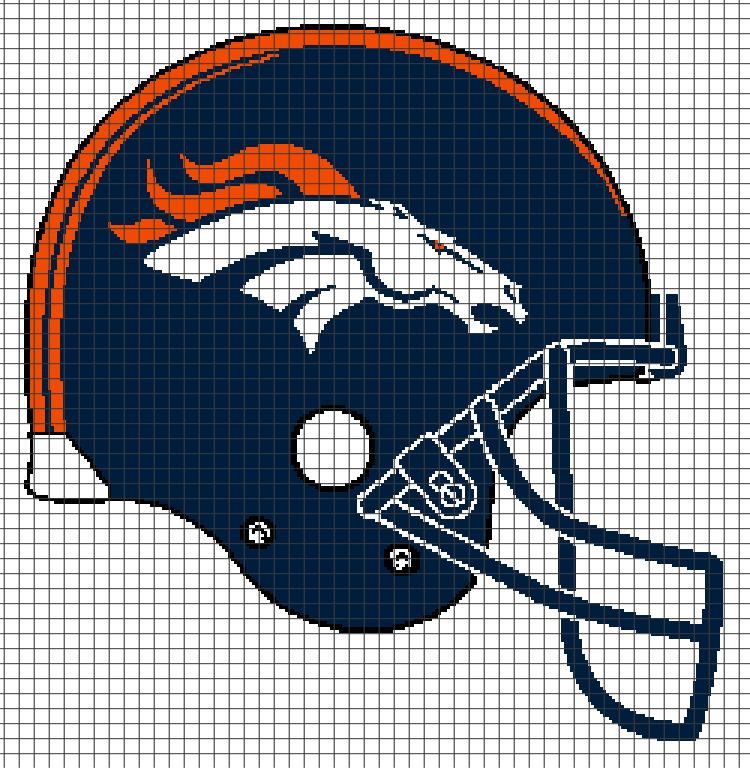 denver broncos helmet chartgraph and rowbyrow written